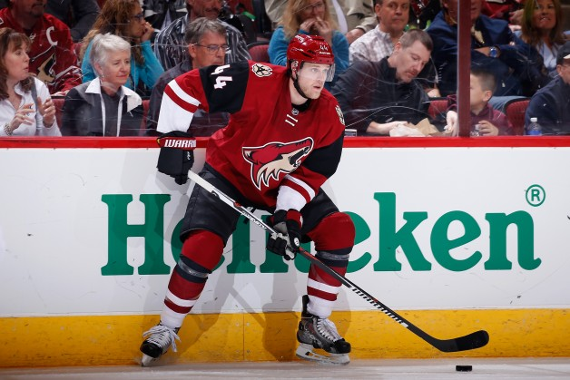 GLENDALE, AZ - FEBRUARY 15:  Kevin Connauton #44 of the Arizona Coyotes skates with the puck during the NHL game against the Montreal Canadiens at Gila River Arena on February 15, 2016 in Glendale, Arizona.  The Coyotes defeated the Canadiens 6-2.  (Photo by Christian Petersen/Getty Images)