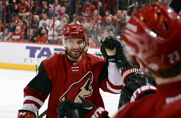 GLENDALE, AZ - FEBRUARY 04:  Jordan Martinook #48 of the Arizona Coyotes is congratulated by teammates after his second period goal against the Chicago Blackhawks at Gila River Arena on February 4, 2016 in Glendale, Arizona.  (Photo by Norm Hall/NHLI via Getty Images)