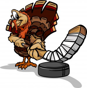 Cartoon Vector Image of a Thanksgiving Holiday Hockey Turkey with Hockey Stick and Puck
