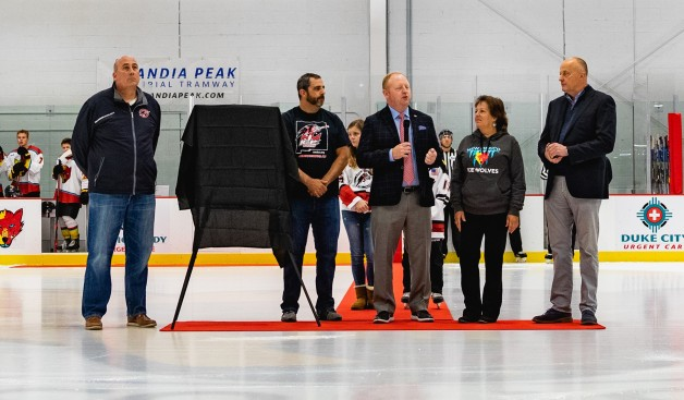 From left, NMICE president Jeff Thompson, Land of Enchantment Hockey Association president Rick Wenner, USA Hockey executive director Pat Kelleher, NMICE leader Jaye Talbott and New Mexico Ice Wolves owner Stan Hubbard take part in the first-ever NMICE Youth Hockey Day at Outpost Ice Arenas on Oct. 13. Photo/New Mexico Ice Wolves